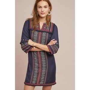 New Anthropologie Alto Embroidered Tunic Dress